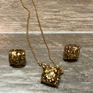 Kate Spade Holiday Glitter Stud Earrings Necklace